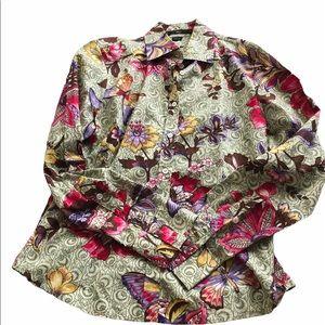 Alara green button down floral casual shirt